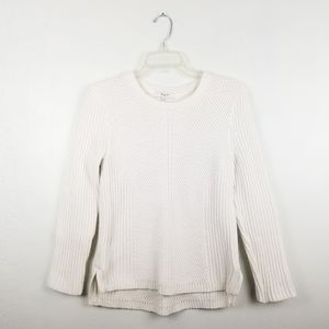 Madewell White Crewneck Knit Sweater